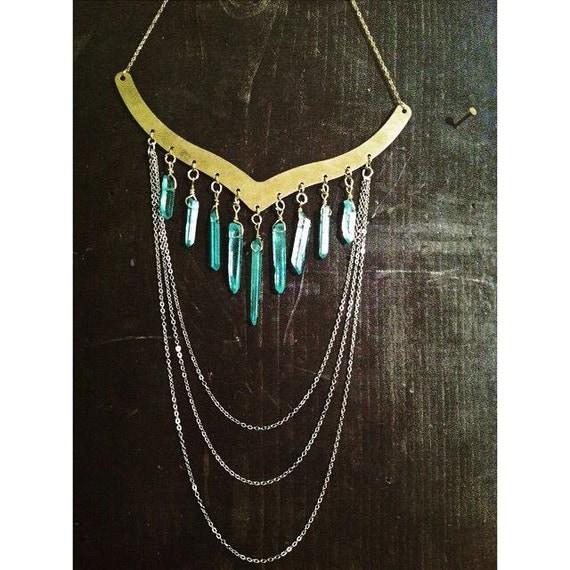 Blue Aura Quartz Crystal Point Collar Chandelier Necklace, Gypsy Bohemian Jewelry