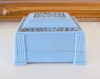 Art Deco Blue Celluloid Ring Box Vintage Ring Box Holder Carved Flowers from TreasuresOfGrace