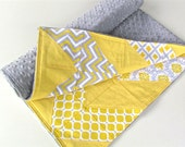 Baby Blanket, Gray Matters Chevron Patchwork Blanket with Silver Minky *PRICE REDUCED*