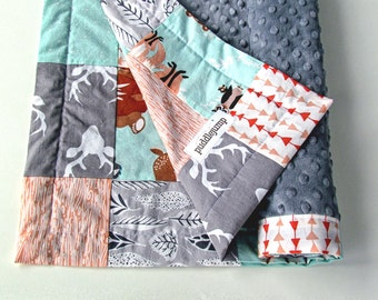 MADE TO ORDER    Forest Baby Blanket    Hello Bear Patchwork Blanket with Grey Minky    Forest Animal Blanket    Buck & Bear Baby Blanket