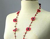 Crochet lariat scarf, handmade crochet flower neckwarmer autumn women accessories