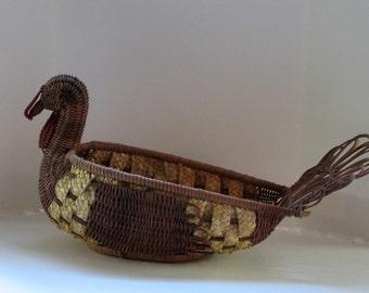 Reed, Wicker or Pine Needle Basket of Turkey