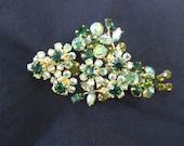 Vintage Austrian Crystal Pin Brooch Green Floral