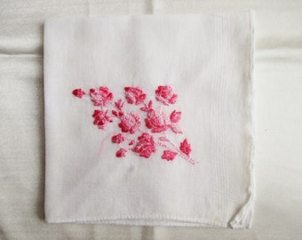Vintage Cotton Hankie with Pink Flowers
