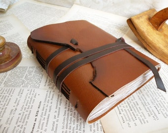 Cognac Leather Journal - Travel Leather Journal, Notebook, Antiqued Vintage Style Notebook
