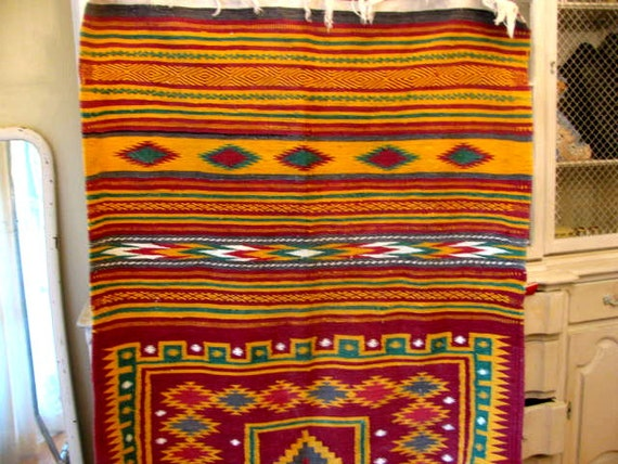 Lovely mexican Blanket / Throw Textured Fabric Great for Bags Mexican Blanket Texture
