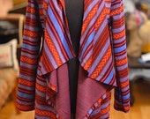 African Print Knit | Ankara Hooded Cardigan | Waterfall Cardigan | Cascading Draped Sweater | Hood Cardigan | KNITTED AFRICAN PRINT| Tribal