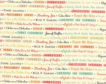 Farmhouse by Joanna Figueroa-Fig Tree & Co. for Moda - Floral Text - Multi - Milk - 1/2 Yard Cotton Quilt Fabric 516