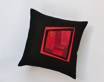 Red Modern Pillow, Quilted Pillow Cover, Red Abstract Pillow, Modern Pillow, Red And Black Pillow, 18 x 18, Throw Pillow