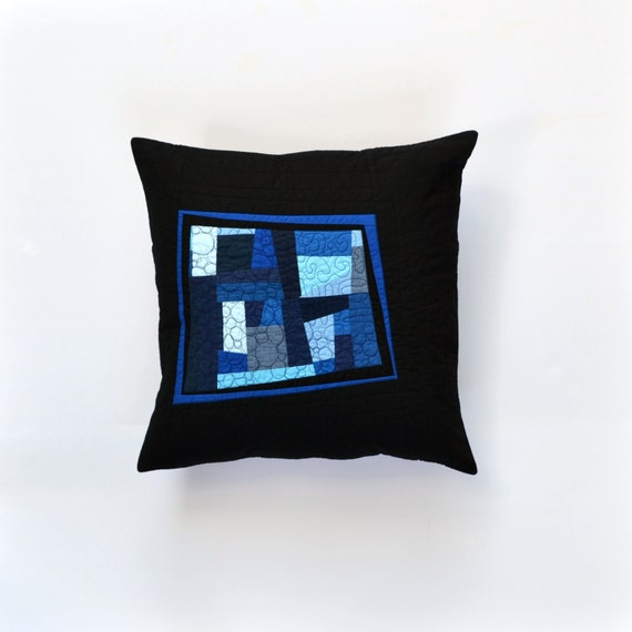 Modern Quilted Pillow Covers : Blue Modern Pillow Quilted Pillow Cover Blue Abstract