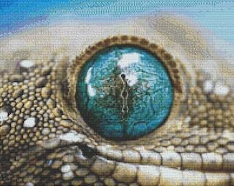 Close-Up Lizard Cross Stitch Pattern Animal Series Design Instant Download PdF
