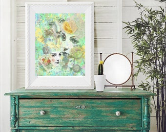 Art print, collage of faces, bathroom art, bedroom decor, printable art, instant download,  8 by 10 digital print, wall decoration