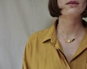 Hammered Brass Collar Necklace With Gold Plated Chain // Handcut and Hammered