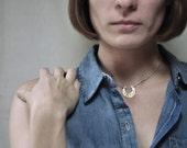 Crescent Moon Brass Collar Necklace // Handmade