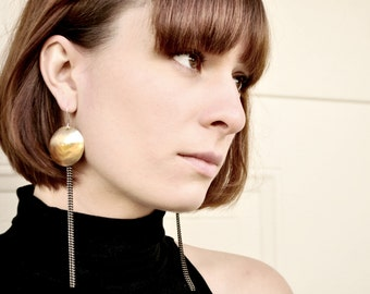 Handmade Brass Circle Earrings with Fringe