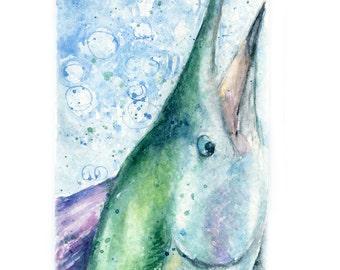 Watercolor Sailfish, Sailfish Print, Fish Portrait