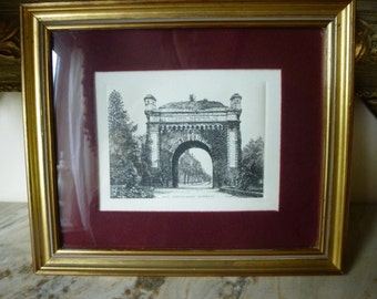 Beautiful Framed Vintage Print Etching / Engraving of a French Town Arch, Architectural Design, Signed
