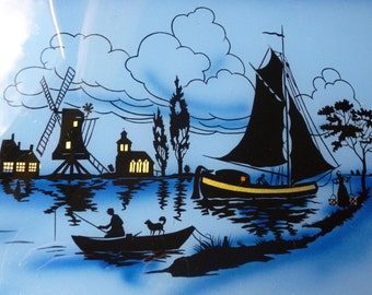 Vintage French Hand painted Serving Tray Glass And Metal. Silhouette Maritime Scene in Blue Black and Gold