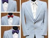 VINTAGE 1970s Blue & White SEERSUCKER  Blazer / Sports Coat - Hipster - Groom - Preppy - Ivy League - Mens Size 39