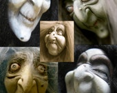 YOUR CHOICE - Flexible Food Grade Silicone Doll Face Cabochon Casting Molds - Witches, Hags, Old Ladies by Art of Two M's