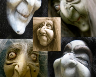 YOUR CHOICE - Flexible Food Grade Silicone Doll Face Cab Casting Push Press Molds of Witches, Hags, Old Ladies