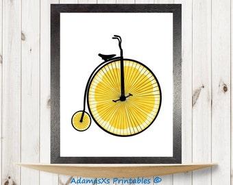 Bicycle printable, Lemon print, Food printable, Bike print, Vintage retro bicycles, Kitchen wall art, Yellow prints,Fruit printables,Circles