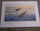 "1993 Robert Taylor Aviation Print ""Eagles Out Of The Sun"", Handsigned and Numbered 835 of 1250, Signed by the 12 Original Pilots"