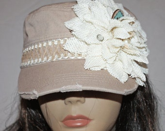 Tan Vintage Style Cadet Cap with Burlap Flower and Band