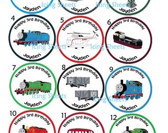 Thomas the train and friends Percy transfers Edible cookie cupcake tops birthday party decoration