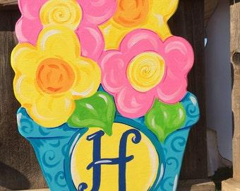 Flower Pot Spring Summer Personalized Monogram Wooden Door hanger