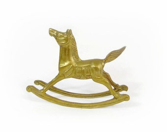 Vintage Brass Rocking Horse Figurine Statue Baby Nursery Decor Brass Collectibles Shelf Sitter Baby Shower Gift Rocking Horse Nursery Retro