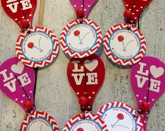 HAVE A BALL Valentine's Day Treat Tags or Stickers Set of 12 {One Dozen} - Party Packs Available
