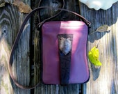 Exiting purple pink leather shoulder bag, crossbody bag, pouch bag, hand bag, purse, with Dutch antique antique artifact 9,5x7,5x 2 inch