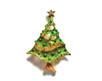 Christmas tree brooch, green enamel over gold plated tree with colored balls, holiday pin with rhinestone star topper