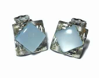 Coro moonglow earrings, 1940s blue grey moonglow lucite sqare clip-on in silver tone