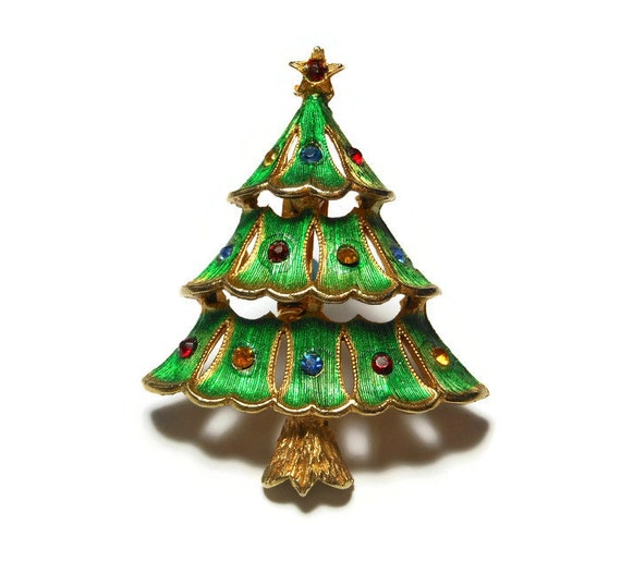 J.J. Christmas Tree Brooch 1950 - 1960's green enamel over gold tone, rhinestone ornaments, star topper with rhinestone