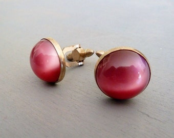 1950s Vintage Cuff Links Pink Moonglow Lucite Cabochon Vintage Mens Accessories