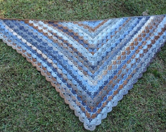 Crochet Desert Skies Shawl-- Just Completed  100% wool