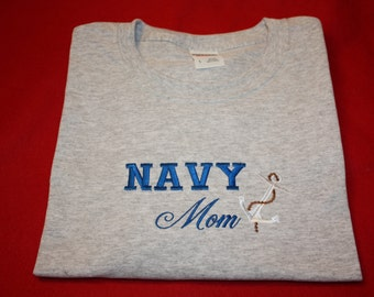 Embroidered Navy Mom T shirt