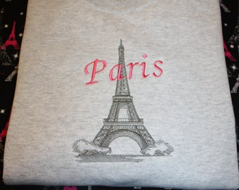 Embroidered Paris Eiffel Tower Sweatshirt