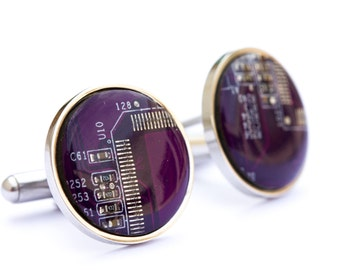 Cufflinks for groomsmen, Circuit board Cufflinks, wedding cuff links, cufflinks for computer geeks, stainless steel, recomputing