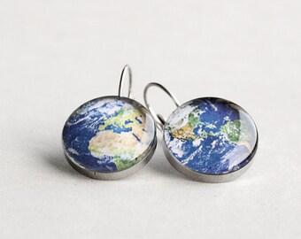 Planet Earth earrings, Surgical steel earring, Globe earrings, French clip earring, Leverback earring