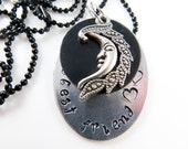 Hand stamped best friend moon necklace