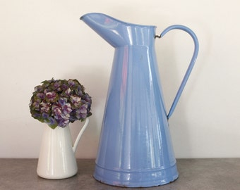 """Vintage French Enamel Pitcher in Blue...LARGE height 15""""....Shabby Chic...Rustic Kitchen....Nordic Style"""