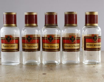 "French Antique Apothecary Bottles...set of FIVE......Height 8"".....Pharmacy Bottles....Chemist Jars"