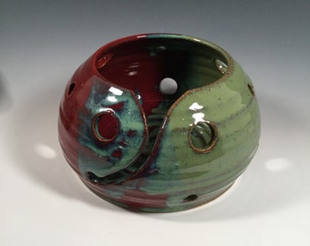 Yarn Bowl - Brick Red and Jade Green - READY TO SHIP- craft supplies - knitting and crochet - ceramics - pottery - stoneware