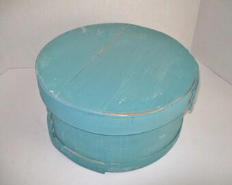 Vintage Cheese Box Upcycled Turquoise Aqua Mustard Storage Decor