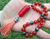 LOKI Pagan Mini Mala - Carnelian, Red Coral, & Black Moonstone - Norse pagan, Lokean, northern tradition, godspouse