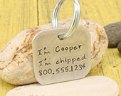 Hand stamped dog tag - I'm chipped aluminum dog tag attitude accessory - by iiwii emporium