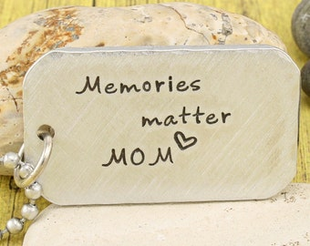 Alzheimer's Awareness Pendant - Memories Matter- Custom hand stamped aluminum pendant by iiwii emporium